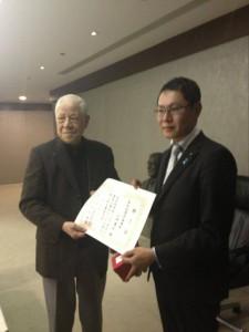李登輝先生から賞状を頂きました。