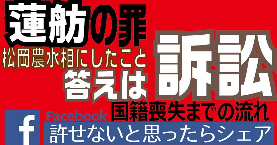 【蓮舫の罪】辞職に追い込む具体的手段、答えは訴訟。松岡農水相のことは忘れない。